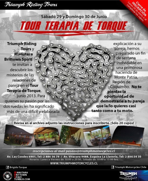 4to Paseo Triumph Riding Tour a Monte Patria, Región de Coquimbo - Tour Terapia de Torque, 29 y 30 de Junio 2013