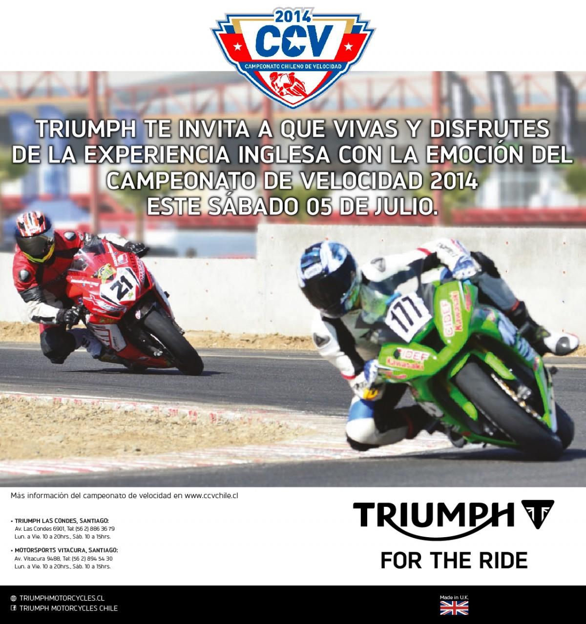 Grupo de motos Triumph estará presente en 3ra fecha del Campeonato de Velocidad
