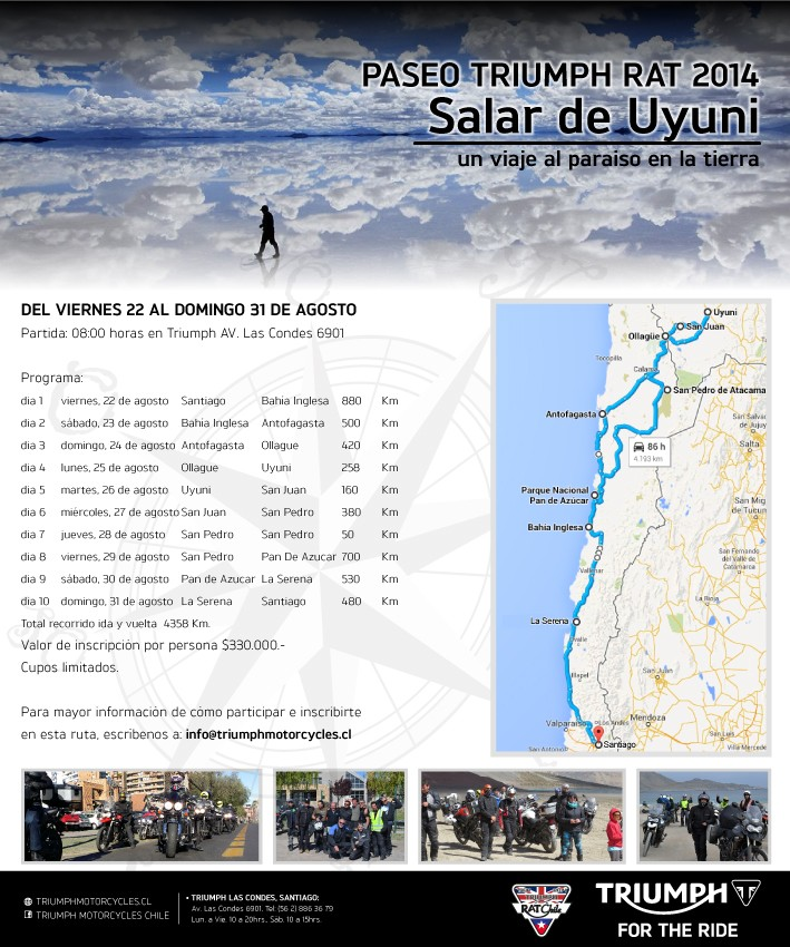 Paseo Triumph RAT 2014 - Salar de Uyuni - Del 22 al 31 de agosto