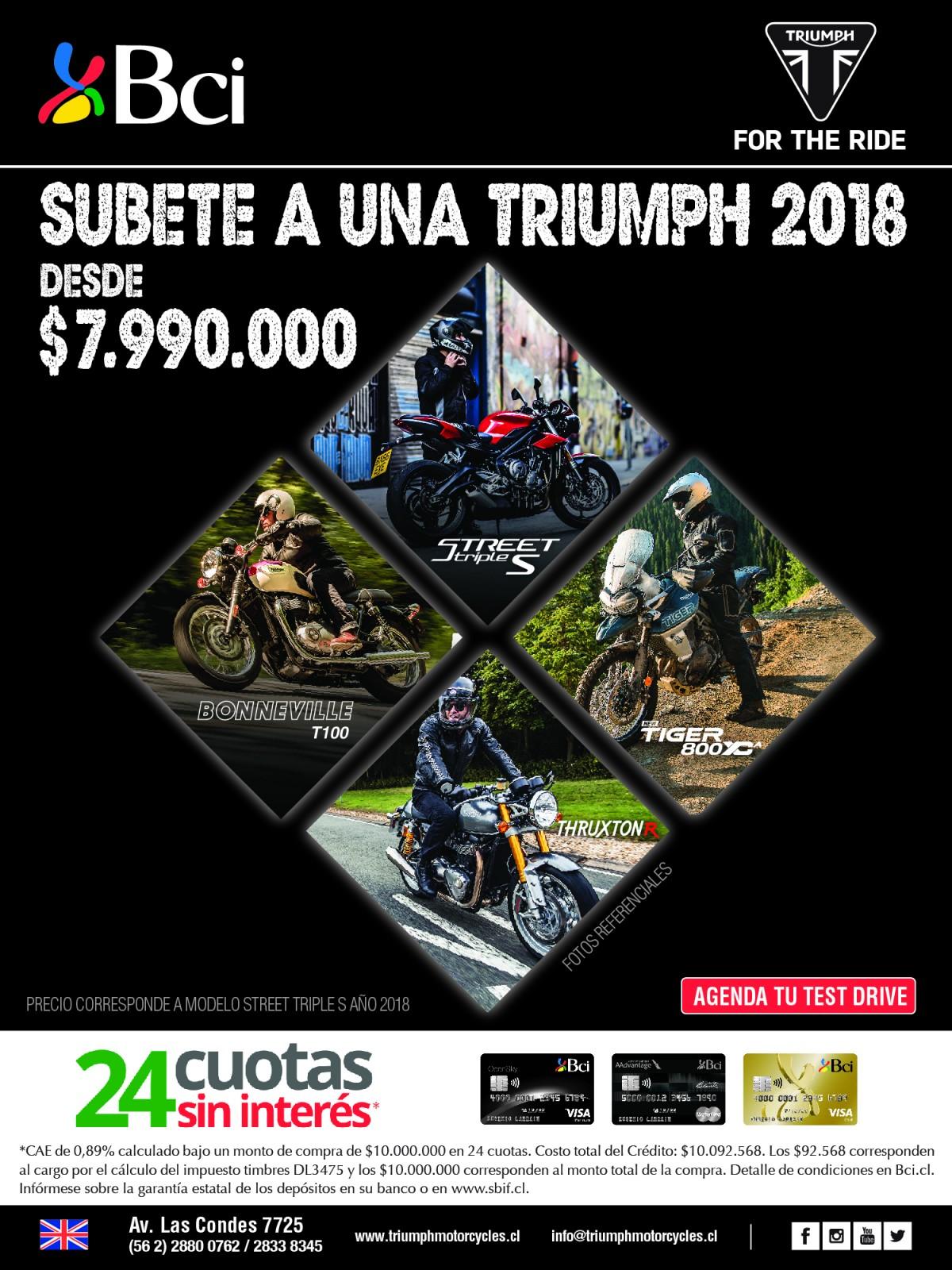 Compra tu moto Triumph en 24 Cuotas Sin Interés con tarjetas de Crédito Bci